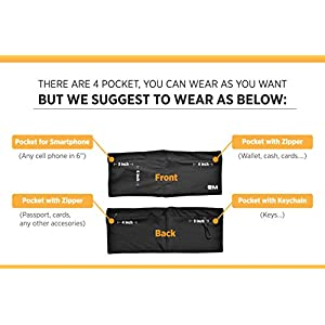 Eazymate Fashion Running Belt - Travel Money Belt with Zipper Pockets Fit All Smartphones and Passport - Black-L