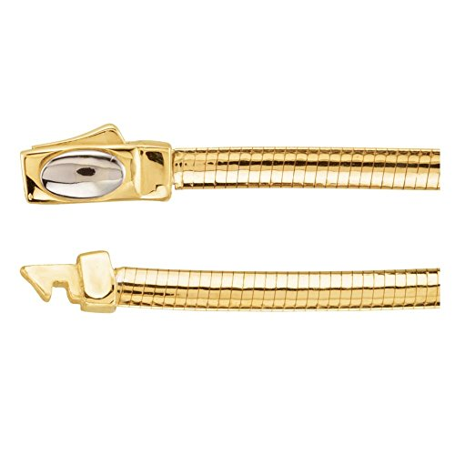 3 mm Two Tone Reversible Omega Chain Bracelet in 14k White and Yellow Gold ( 7 Inch )