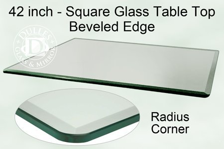 42'' Inch Square Glass Table Top, 1/2 Inch Thick, Bevel Polished Edge, Radius Corners, Annealed