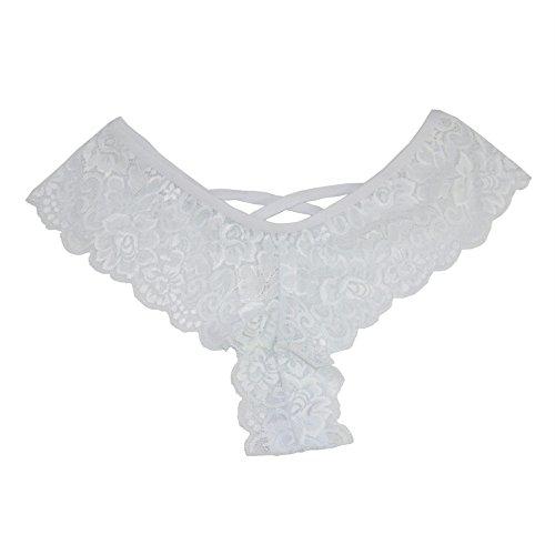 Shirley Spandex Bikini - Gergeos Womens Lace Thongs Sexy Flowers Low Waist Underwear Panties G-string Lingerie (X-Large, White)