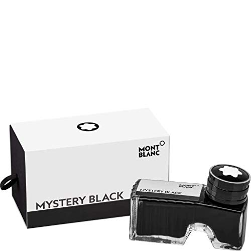 Montblanc Ink Bottle Mystery Black 105190 - Premium-Quality Refill Ink in Black for Fountain Pens, Quills, and Calligraphy Pens - 60ml Inkwell