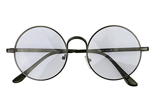 Women Men Vintage Anti Radiation Eyewear Computer TV CellPhone Anti Glare Anti Blue Light Eyeglasses Eye Protection Round Shape Safety Reading Glasses Anti-reflective Relief Goggles (Gun Color) (Tv Film Antireflective)