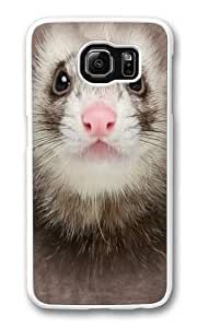 Big Ferret Face PC Case Cover for Samsung S6 and Samsung Galaxy S6 White