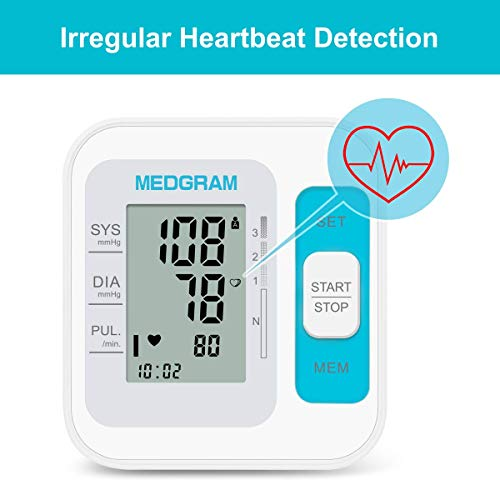 Blood Pressure Monitor Upper Arm, MEDGRAM Accurate Cuffs for Home Use with Large Cuff 8.7-15.7 Inch, Automatic & Digital BP Machine, 2 x 120 Sets Memory, FDA Approved
