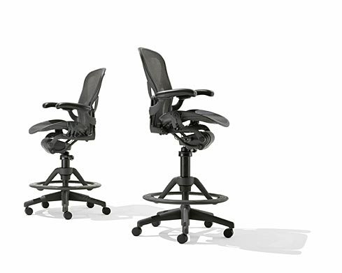 Herman Miller Aeron Basic Chair (Herman Miller® Aeron Basic Work Stool Graphite - Fixed Arms - No Lumbar Support - HIGH)
