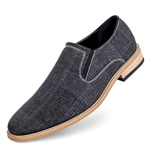 GOLAIMAN Men's Slip-On Loafers Classic Casual Canvas Business Shoes, Black 10