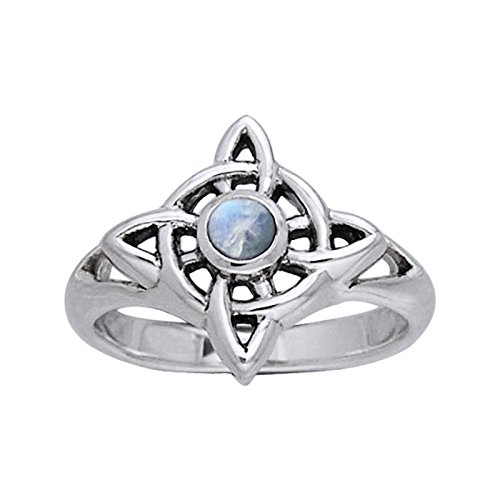 Rainbow Moonstone - Northern Star Celtic Knot Sterling Silver Ring Size 8(Sizes 4,5,6,7,8,9,10,11,12,13,14)