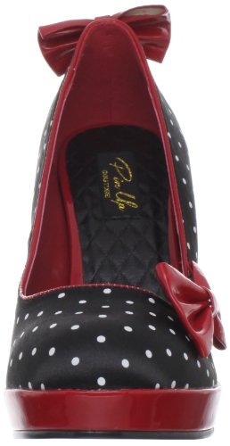 red Secret Tacco Nero Donna con 12 Polka Print Dots Blk Scarpe Pleaser Black Pat Satin TIdvvq