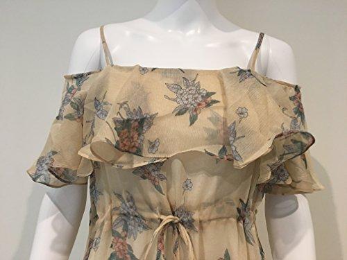 Shoulder Mr Off Dress Yellow Print Slip 90s Womens Floral rtqFwxBtP