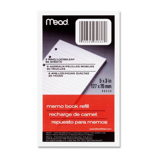 Mead MEA-46530 Memo Book Refill Paper - 80 Sheet[s] - Narrow Ruled - 3 X 5 - 2 Each - White