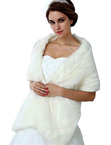NYARER Women's Faux Fur Wrap Cape Stole Shawl Bolero Jacket Coat Shrug Wedding Dress Winter 17005