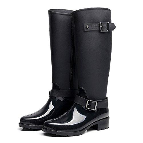 Omgard Women Rubber Rain Boots Mid Calf Waterproof Wellies High Knee Rainboots Shoes Black Size 7