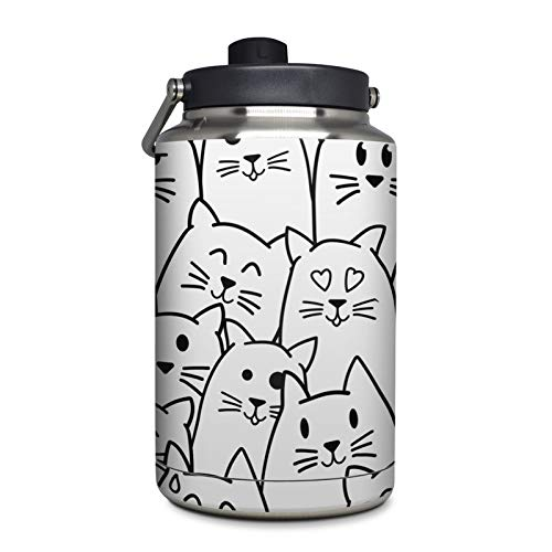Moody Cats Protector Skin Sticker Compatible with Yeti Rambler 1 Gallon Jug - Ultra Thin Protective Vinyl Decal Wrap ()