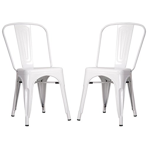 Merax High Back Steel Stackable Indoor and Outdoor Vintage Metal Dining Chairs Set of 2 (White)