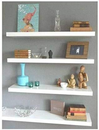 onlinecraft Wooden Wall Shelf  2474 White
