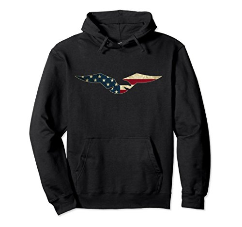 Unisex USA American Flag Colors Eagle Outline Hoodie Medium Black (Eagle Hoodie)