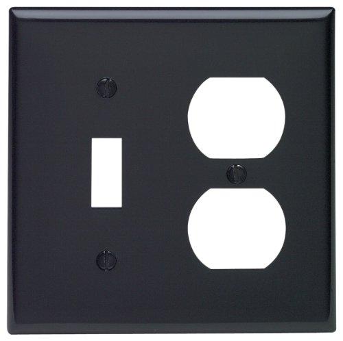 Leviton 80705-E 2-Gang 1-Toggle 1-Duplex Device Combination Wallplate, Standard Size, Thermoplastic Nylon, Device Mount, Black (Nylon Covers Duplex Outlet)
