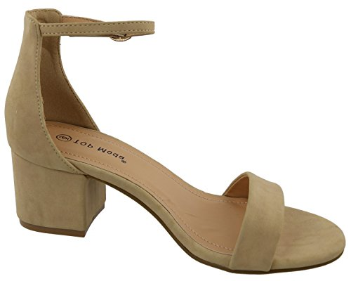 Sandal Toe Top Chunky Moda Heel Ankle Beige Block Strappy Open Stacked Women's vwgvqz
