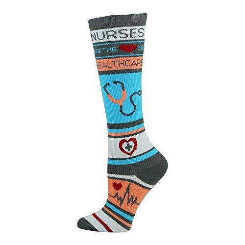 Think Medical Women's Nurse Print 10-14mmHg Compression Sock (Nurse Healthcare) (Nurses Accessories)