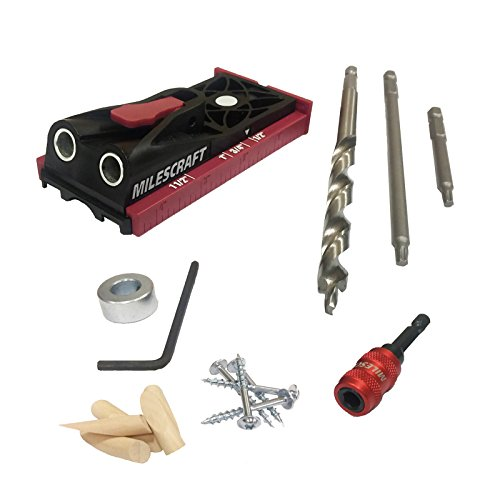 (Milescraft 13230003 PocketJig200 Kit - Complete Pocket Hole Kit with Jig, Bit, Screws and Drivers, Black/Red )