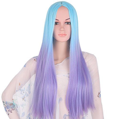 [Emmet Long Hair Wigs Ombre Color Natural Straight Synthetic Kanekalon Full Wig for Women Cosplay Party Costume Wig with Free Wig Cap & Free Wig Stand Holder (Light Blue TO Light] (Awesome 3 Person Halloween Costumes)