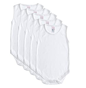 5 Pack Baby and Toddler Sleeveless Onesies, Soft Cotton Boys / Girls Bodysuit by Baby Jay