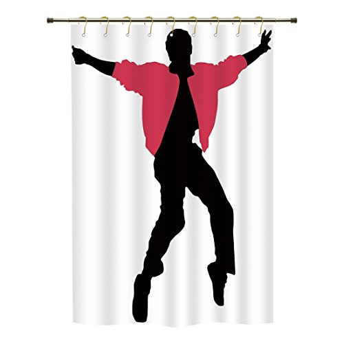 - iPrint Shower Curtain,Elvis Presley Decor,American Artist King Icon Blues Performer Singer Silhouette,Dark Coral Black White,Polyester Shower Curtains Bathroom Decor Sets with Hooks