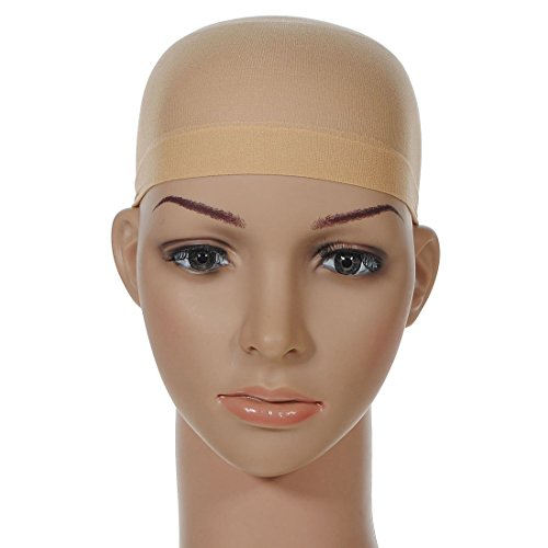 12 Pieces One Size Fits All Hair Net Skin Color Nylon Wig Caps for Women, Kids and Men by Meiyoo2 (Natural Nude Beige) by Meiyoo (Image #1)