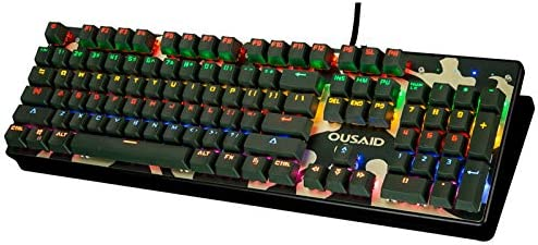 Support Waterproof 12 Kinds of Lighting Effects 104 Keys Anti-Ghost SSSLG Camouflage Game Mechanical Keyboard lk Optical axis Keyboard