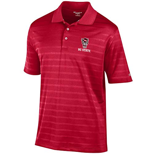 (Champion NCSU NC State Wolfpack Men's Polo Textured Solid Polo (Medium))