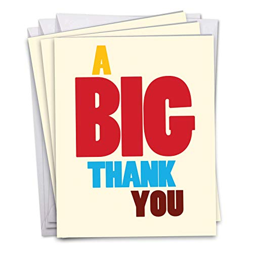(3 Pack of 'Big Thank You' 8.5 x 11 Inch - Hilarious Bright and Colorful Thank You XL Appreciation Card - Colorful And Silly Big Text Thank You XL Greeting)