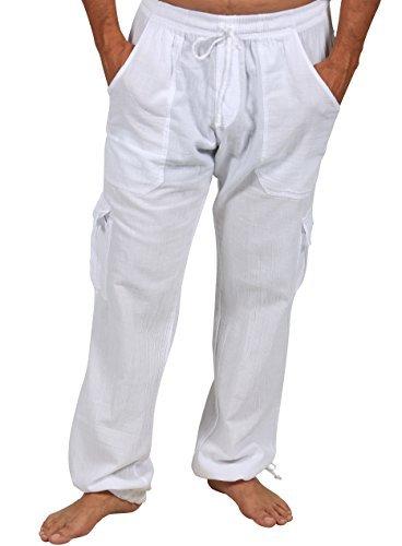 Cotton Natural Cargo Pants Summer Beach Elastic Waistband Comfortable Pants