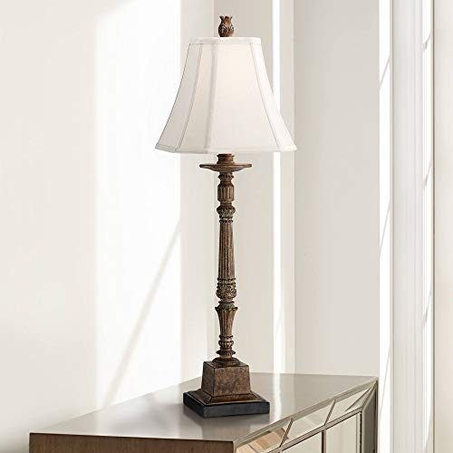 (Thornewood Traditional Console Table Lamp Crackled Brown Candlestick Square Bell Shade for Living Room Family Bedroom Bedside - Regency Hill)