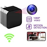 Hidden Cam, Wall Charger Real-time Wifi Remote View Video Recorder Motion Detection Wireless Home Mini Security Nanny Camera Alarm Notification 128GB Micro SD Card Support