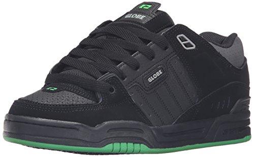 Globe Mens Fusion Skate Shoes, Black/Black/Green, 10.5 M US