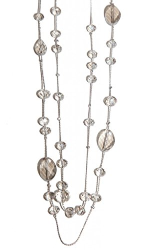 Coral Rose Pearl (Lux Accessories Clear Faux Gemstone Silvertone Chain Necklace)