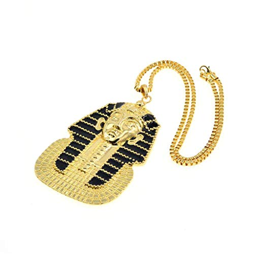 Haluoo Mens Hip Hop Ancient Egyptian Pharaoh Head Pendant Necklace Women Gold Plated Rock Punk Sweater Chain Necklace Vintage Old School Stainless Steel Pendant Necklace (Gold)
