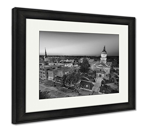Ashley Framed Prints Dontown Athens Georgia, Modern Room Accent Piece, Black/White, 34x40 (frame size), Black Frame, AG6317332 (Athens Clarke County Ga)