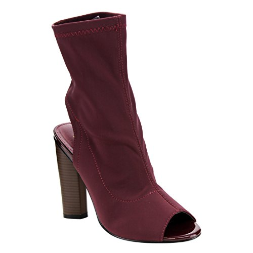 d39d62eec4a new Beston FG21 Women s Stretchy Peep Toe Block Heel Ankle Booties ...