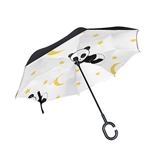 (Clear Umbrella Panda Sleeping On Moon Stand Inverted Umbrella Double Layer Umbrella Picnic Travel For Girls Adult With C-shaped Handle Rain Umbrellas )