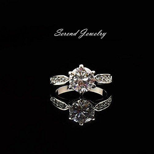 Serend 18k White Gold Plated 1.5ct Heart and Arrows Cut Cubic Zirconia Solitaire Engagement Ring, Size 7