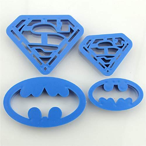 4 pcs Cookie Cutters Super Hero Batman Superman Sugarcraft Fondant Cake Decoration Shape Kitchen Baking Pastry Bakeware Tools ()