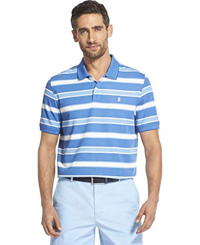 IZOD Men's Advantage Performance Short Sleeve Stripe Polo, True Blue S2019, Large ()