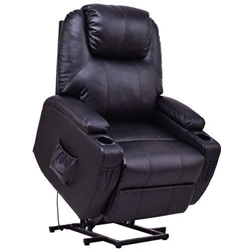 Giantex Electric Power Lift Recliner Chair for Elderly PU Leather Padded Seat with Remote & Cup Holder Living Room Chair (Black) (Electric Recliner Leather)