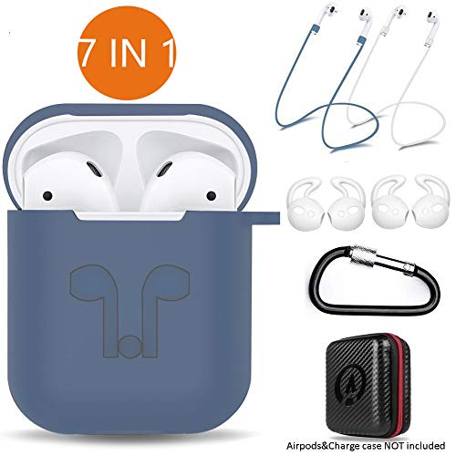 AirPods Case 7 in 1 Airpods Accessories Kits Protective Silicone Cover and Skin for Airpods Charging Case with Ear Hook Airpods Staps/Skin/Tips/Keychain NavyBlue by Amasing
