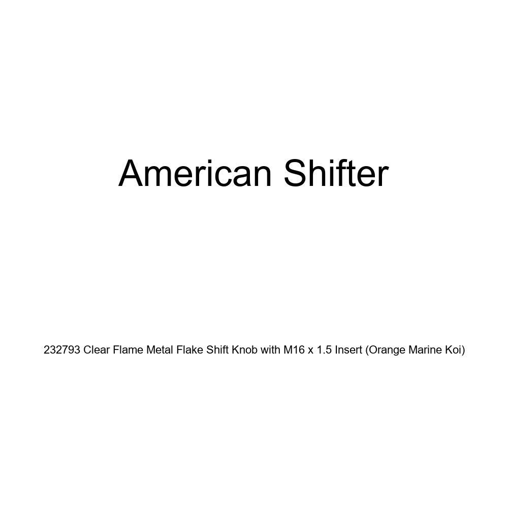 American Shifter 232793 Clear Flame Metal Flake Shift Knob with M16 x 1.5 Insert Orange Marine Koi