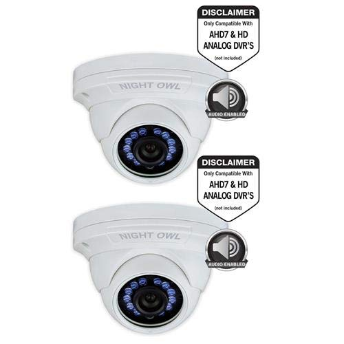 Night Owl 2 Pack 2MP HD Indoor/Outdoor Day & Night Wired Security Dome Camera, 3.6mm Lens, 1080p, Up to 100′ Night Vision and Audio, Vandal-Proof, White