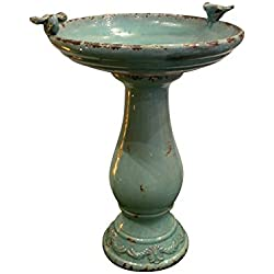 "Alpine Corporation Antique Ceramic Birdbath with Birds, 24"", Turquoise"