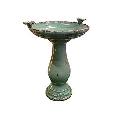 Alpine Corporation Antique Ceramic Birdbath with Birds, 24 , Turquoise