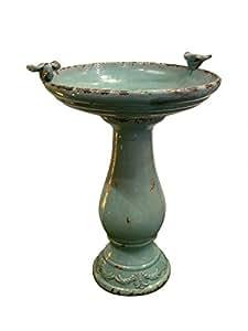 "Alpine Corporation Antique Ceramic Birdbath with Birds, 24"", Turquoise"